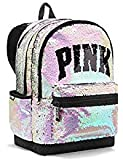 VICTORIA SECRET - SOLD OUT - RARE SPARKLE BLING. SILVER AND BLACK. CAMPUS BACKPACK Made by PINK