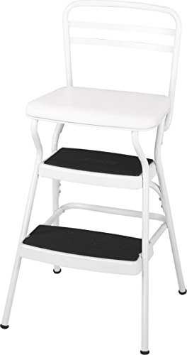 Cosco 11130WHTE White Retro Counter Chair/Step Stool with Lift-Up Seat