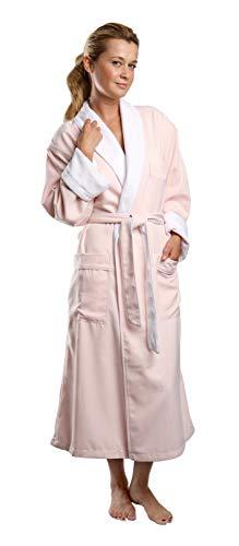 Monarch/Cypress Plush Lined Microfiber Spa Robe - Unisex Luxury Hotel Bathrobe in Pink/Medium