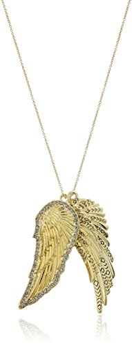 """31%2BPobRBbmL Gold tone with smokey grey pave double metal wing necklace 30"""" cable chain necklace"""