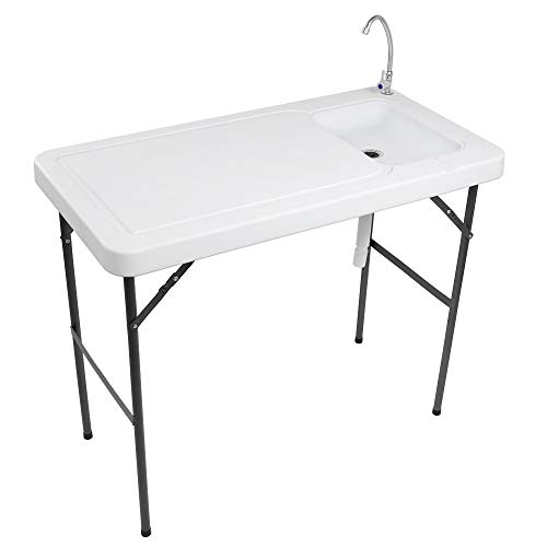 VINGLI Portable Cutting and Cleaning Table, for Outdoor Fish/Game/Hunting/Camping/RV Trip, w/Stainless Steel Faucet & Standard Garden Connection & Upgraded Drainage Hose, Folding Sink