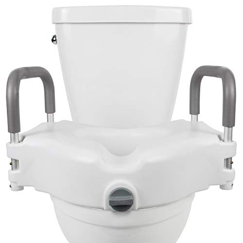Vive Raised Toilet Seat - 5' Portable, Elevated Riser with Padded Handles - Elongated and Standard Fit Commode Lifter - Bathroom Safety Extender Assists Disabled, Elderly, Seniors, Handicapped