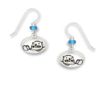 Silver Sea Otter Earrings