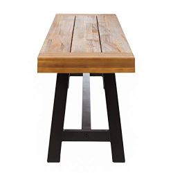 Christopher Knight Home 300496 Colonial Outdoor Finish Acacia Wood & Rustic Metal Bench, Sand Blast Finish
