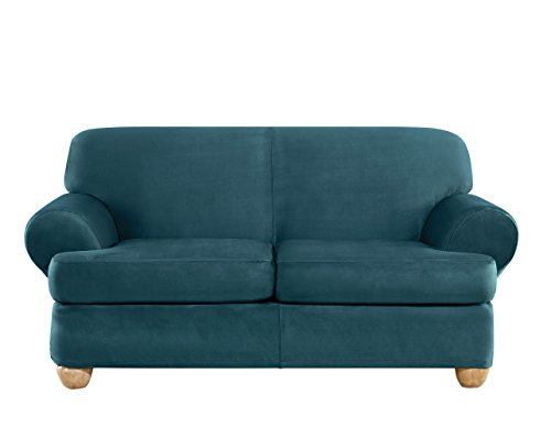Sure Fit Ultimate Heavyweight Stretch Suede Individual 2 Piece T-Cushion Loveseat Slipcover - Peacock Blue