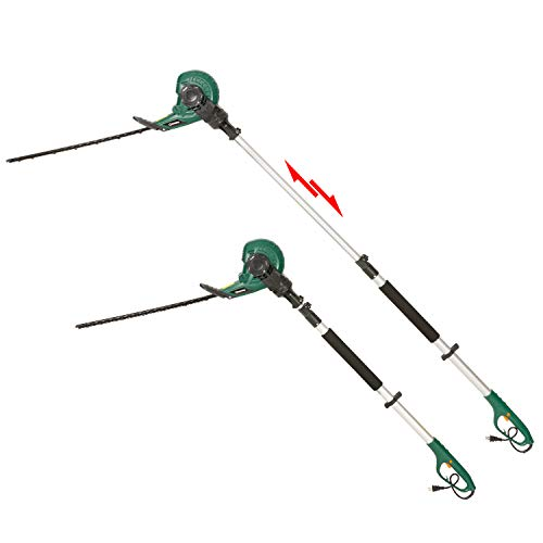 DOEWORKS Corded 2 in 1 Multi-Angle Cutting Telescopic Electric Hedge Trimmer on Pole, 18' Dual Steel Blade