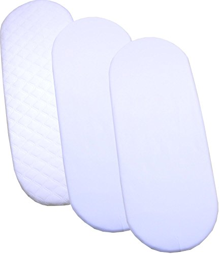 BabyPrem Quilted Moses Mattress & 2 Fitted Sheets 29 x 11' White