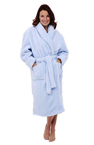 Alexander Del Rossa Womens Fleece Robe, Plush Microfiber Bathrobe, Large XL Light Blue (A0302LBLXL)