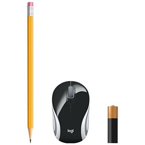 Logicool M187rBK 超小型 鉛筆・乾電池とのサイズ比較