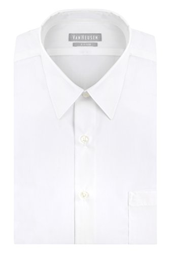 Van Heusen Men's Poplin Fitted Solid Point Collar Dress Shirt, White, 15' Neck 32'-33' Sleeve