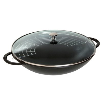 Staub Cast-Iron 7-Quart Wok with Glass Lid, Black