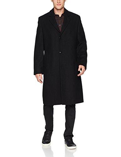 London Fog Men's Signature Wool Blend Top Coat, Black, 42L