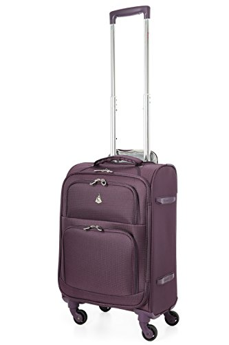 "Aerolite 22x14x9"" Carry On MAX Lightweight Upright Travel Trolley Bags Luggage Suitcase, 4 Wheel Spinner, Maximum Allowance (Purple)"
