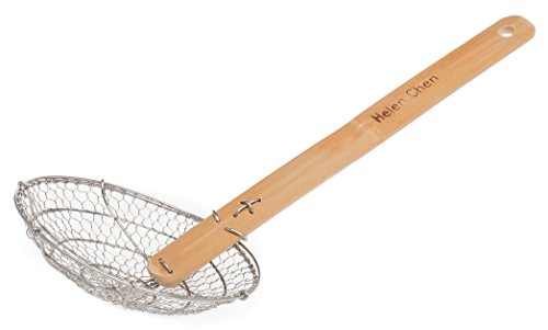 Helen Chen's Asian Kitchen Stainless Steel Spider Strainer with Natural Bamboo Handle, 5-Inch Strainer Basket