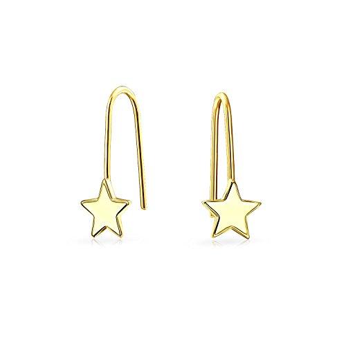 Tiny 14K Gold Star patriótico enhebrador pequeños Aretes para mujeres niñas Pulido