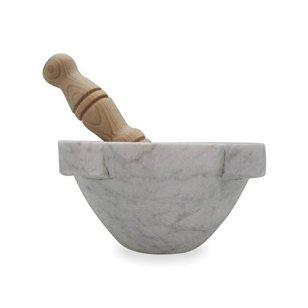 Mortaio per Pesto in marmo di Carrara, con pestello - 18 cm