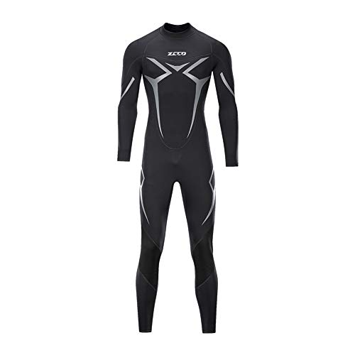 ZCCO Wetsuits Men's 3mm Premium Neoprene Full Sleeve Dive Skin for Spearfishing,Snorkeling, Surfing,Canoeing,Scuba Diving Wet Suits (Black, 4XL)