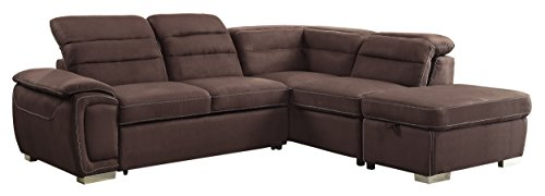 Fantastic Homelegance Platina 103 Sectional Sofa With Pull Out Bed And Ottoman Chocolate Fabric Freight Liquidators Alphanode Cool Chair Designs And Ideas Alphanodeonline