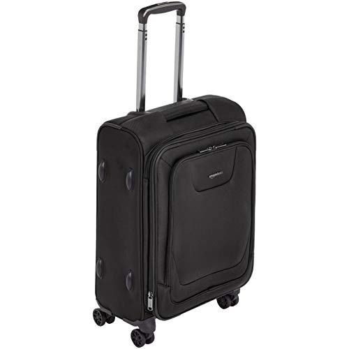 AmazonBasics Premium Expandable Softside Spinner Luggage With TSA Lock- 21 Inch, Black