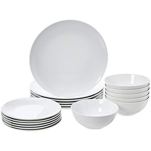 AmazonBasics 18-Piece Dinnerware Set - White Porcelain Coupe, Service for 6