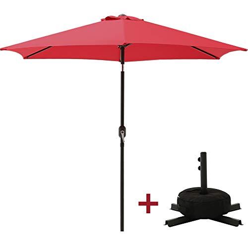 SUPERJARE 10 FT Offset Hanging Umbrella, Outdoor Patio Cantilever Tilt Canopy, Crank Lift & 5 Lock Positions, 360° Rotation - Beige