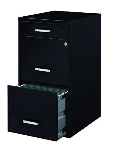 Office Dimensions 18' Deep 3 Drawer Metal File Cabinet Organizer with Pencil Drawer, Black