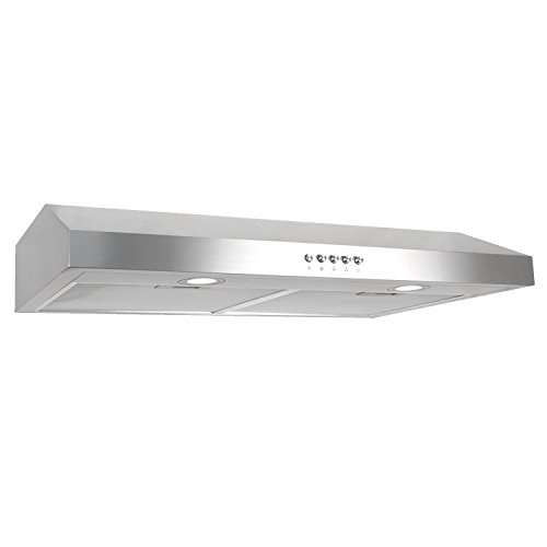 Cosmo 30 in. 250 CFM Ducted Under Cabinet Range Hood with Push Button Control Panel, Kitchen Vent Cooking Fan Range Hood with Aluminum Filters and LED Lighting