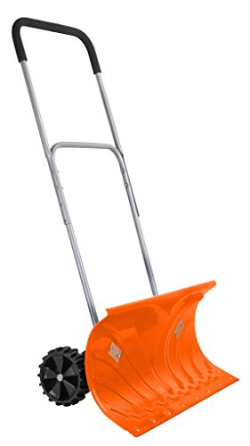 Ivation Heavy Duty Rolling Snow Pusher/Shovel 26' Wide with 6' Pivot Wheels & Adjustable Handle, Bright Orange