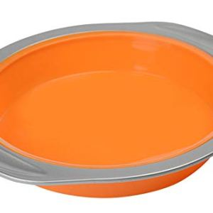 Vhonor Silicone Cake Pan – 8.5 Inch Non-Stick Round Cake Bakeware Baking Mould with Carbon Steel Non-Stick Rim for Cakes, Bread, Pie, Pancakes, Pizza(FDA-Approved Silicone/Orange) 31307M2YRbL