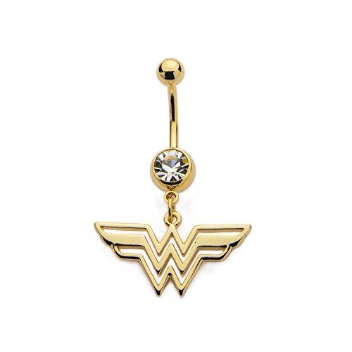 Animewild DC Comics Wonder Woman Logo with Gem Belly Button Ring