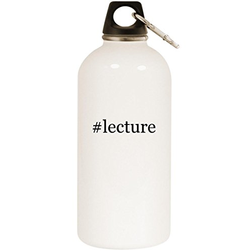 Molandra Products #Lecture - White Hashtag 20oz Stainless Steel Water Bottle with Carabiner