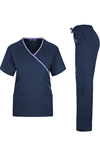 MedPro Ladies's Medical Scrub Set Mock Wrap and Cargo Navy L (GT-756) deal 50% off 313iMoOQhUL