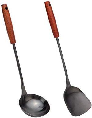 Spatula & Ladle Wok Tool Set, 14.2-15 inches wok utensils, Stainless Steel wok spatula.