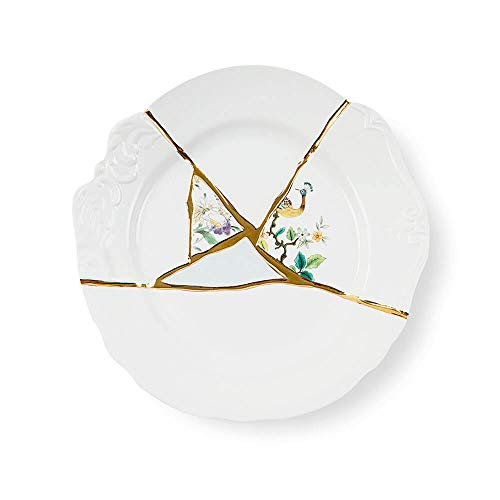 Seletti Kintsugi dinner plate in porcelain and 24 carat gold mod. 2