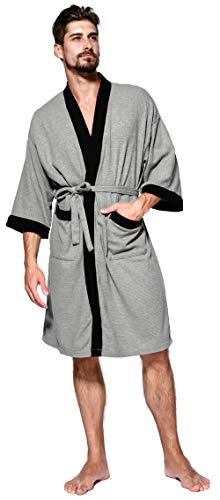 Mens Robe Lightweight Summer Cotton Short Kimono Bathrobe Spa Waffle Bath Rob Knee Length Sleepwear Soft Robes with Pockets for Men Size XL
