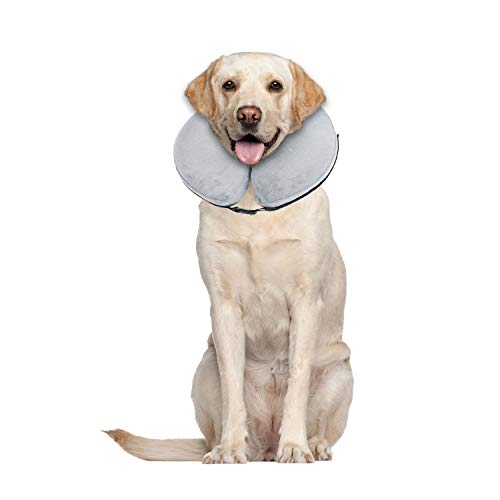 E-KOMG Blow Up Dog Collar Dog Cone Protective Inflatable Collar After Surgery Pet Recovery Collar for Dogs and Cats (Large)