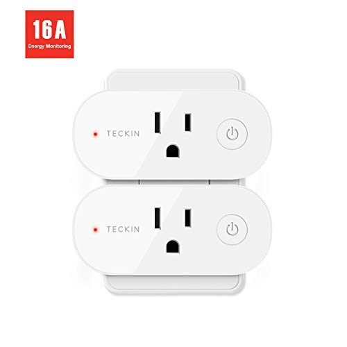 Smart Plug Wifi Outlet Compatible With Alexa, Echo, Google Home and IFTTT, Teckin Mini Smart Socket with Energy Monitoring and Timer Function, No Hub Required, 16A (2 pack)