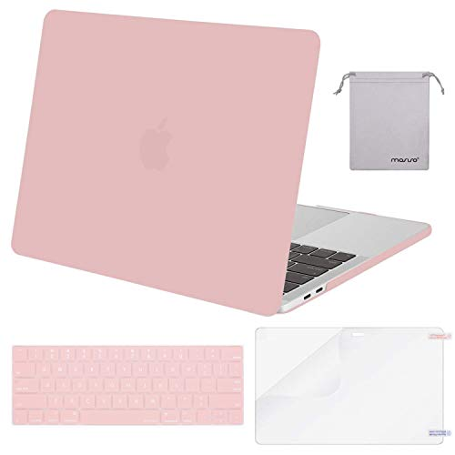 MOSISO MacBook Pro 13 Case 2019 2018 2017 2016 Release A1989 A1706 A1708, Plastic Hard Shell & Keyboard Cover & Screen Protector & Storage Bag Compatible Newest MacBook Pro 13 Inch, Rose Quartz