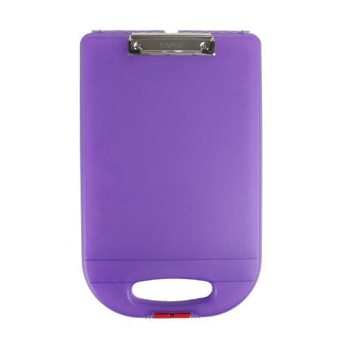 Dexas School Clipcase 2 Storage Clipboard with Rounded Handle, Purple