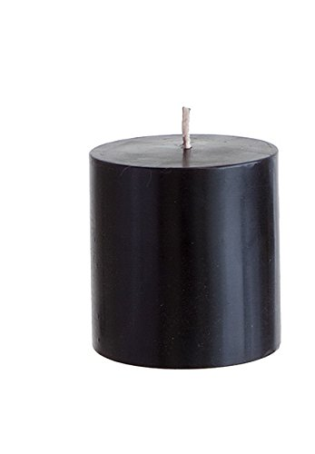 "Mega Candles - Unscented 3"" x 3"" Hand Poured Round Premium Pillar Candle - Black"