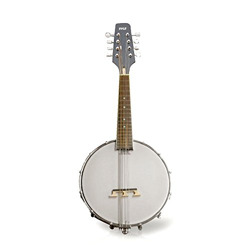 Pyle PBJ20 8-String 23-Inch Total Length Mandolin-Banjo Hybrid with White Jade Tuner Pegs, Rosewood Fretboard