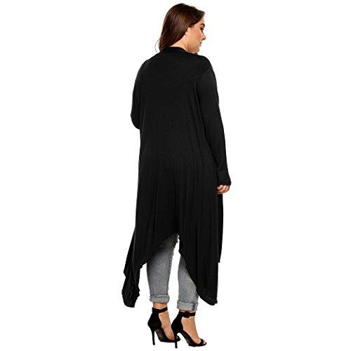 170fe10cc6 Kancystore Women s Plus Size Long Sleeve Waterfall Asymmetric Drape Open  Front Long Maxi Cardigan ...