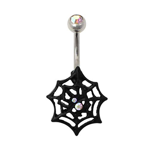 Excepro Belly Button Rings 316L Surgical Stainless Super Hero Spiderman Cobweb Body Jewelry Belly Rings