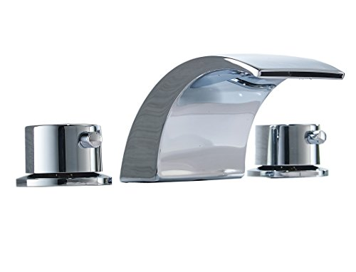 Aquafaucet 8-16 Inch Led Waterfall Widespread Bathroom Sink Faucet 2 Handles 3 Holes Chrome Finish Commercial