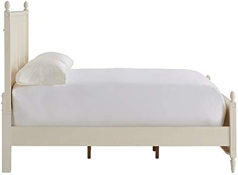 Universal Furniture Bedroom Antiqued Wood King Panel Bed with Hand Carved Floral Details in White