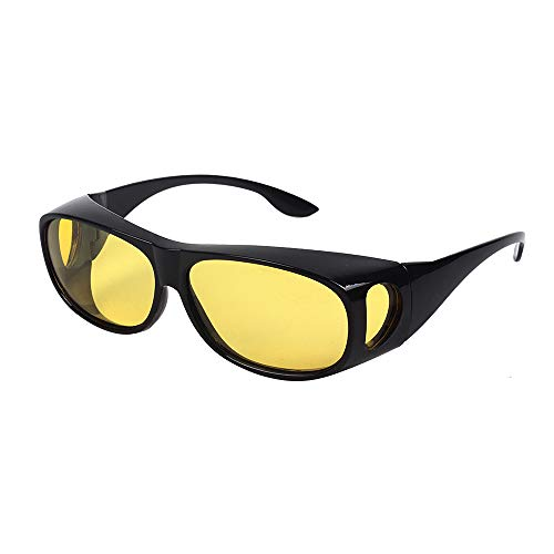 HD NIGHT DAY VISION DRIVING WRAP AROUND ANTI GLARE SUNGLASSES WITH POLARIZED LENSE FOR MAN AND WOMEN (Night Vision yellow lens+Bright black Frame)
