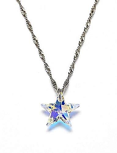 Crystal Proyect Cadena Delgada para Mujer con Cristal Estrella, 20 mm