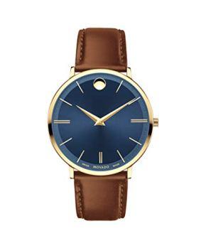 Movado Ultra Slim, Yellow Gold PVD Case, Blue Dial, Cognac Leather Strap, Men, 0607241