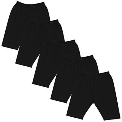 GOODTRY Girls Cotton Cycling Shorts Pack of 5 Black 19
