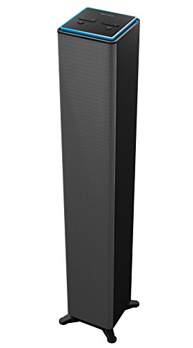 Sharper Image SWF2001GY Wall Powered Amazon Alexa Bluetooth Tower Speaker with Far Field Voice Control, Voice Controled Smart Floorstanding Tower Speaker with WiFi, Ask Alexa Anything You Want